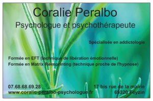 Psychologue et psychothérapeute (à Feyzin proche de Lyon). Coralie Peralbo. Spécialisée en addictologie, EFT et Matrix Reimprinting, psychologie énergétique.